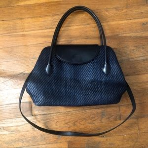 Fossil Navy Blue Leather Woven Bag